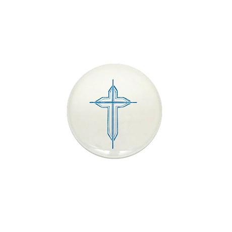Pretty blue christian cross 2 U P Mini Button (100