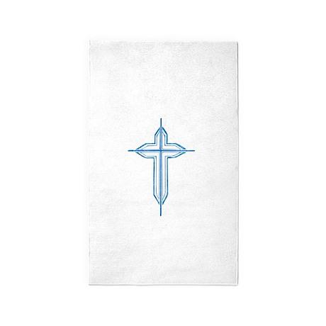 Pretty blue christian cross 2 U P 3'x5' Area Rug