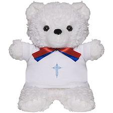 Pretty blue christian cross 2 U P Teddy Bear
