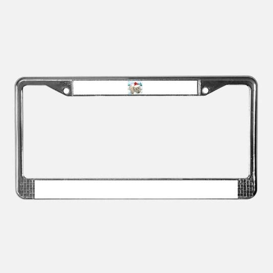 Christmas Labradoodle License Plate Frame