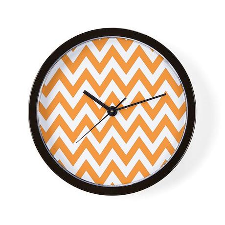 Orange chevron stripes Wall Clock