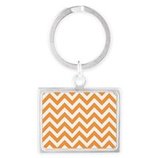 Orange chevron stripes Landscape Keychain