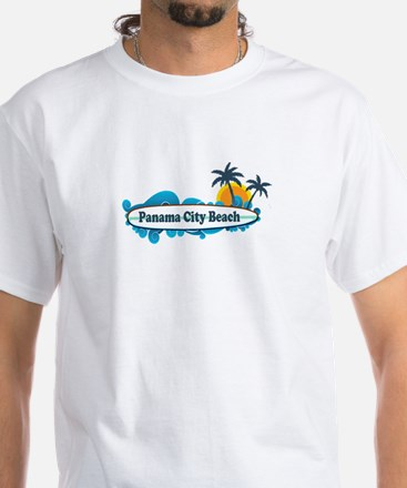 Panama City Beach - Surf Designs. White T-Shirt