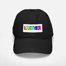 LEATHER RAINBOW TEXT Baseball Hat