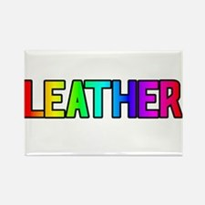 LEATHER RAINBOW TEXT Rectangle Magnet