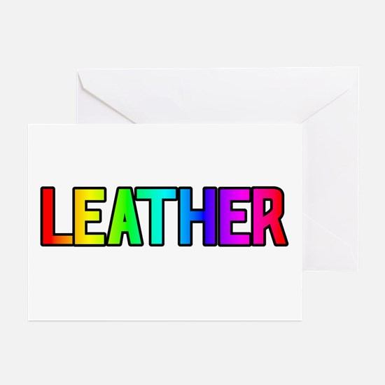 LEATHER/MASTER RAINBOW TEXT GreetingCards(Packof6)