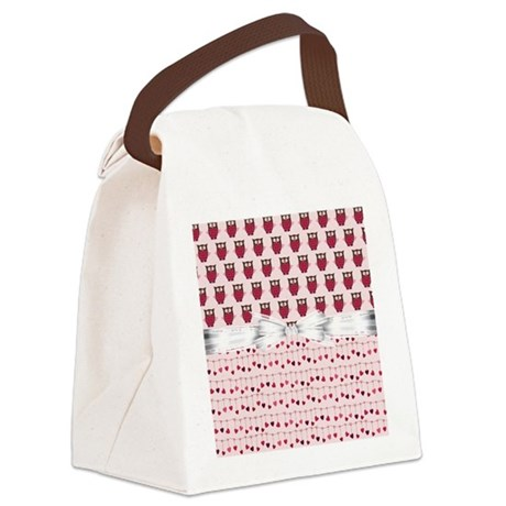 Pink Whimsical Owls Canvas Lunch Bag