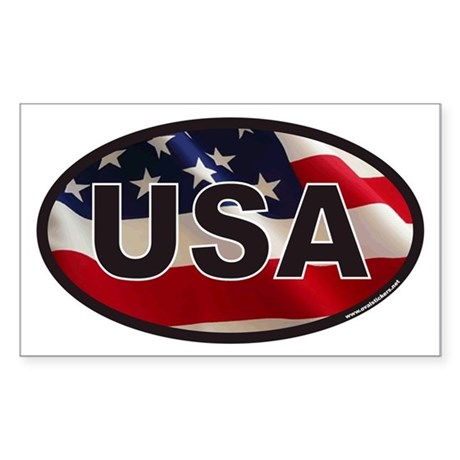 USA Oval Sticker with American Flag Background Sti