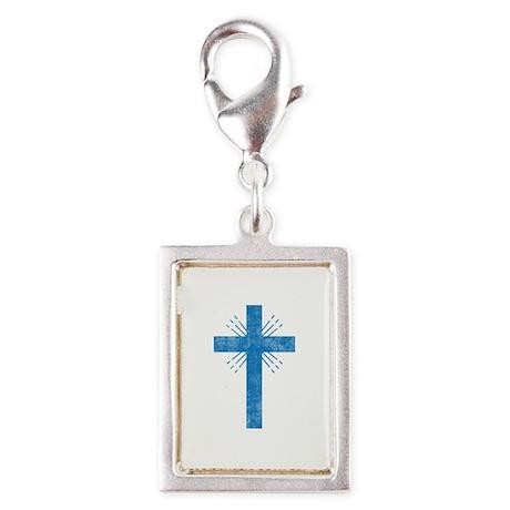 Pretty blue christian cross 4 U P Silver Portrait