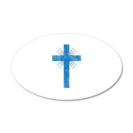 Pretty blue christian cross 4 U P Wall Decal