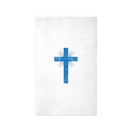 Pretty blue christian cross 4 U P 3'x5' Area Rug