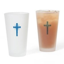 Pretty blue christian cross 4 U P Drinking Glass