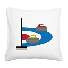 Curling Square Canvas Pillow