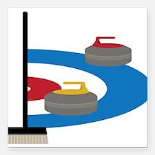 "Curling Square Car Magnet 3"" x 3"""