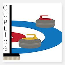 "Curling Field Square Car Magnet 3"" x 3"""