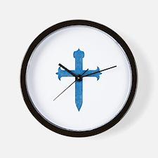 Pretty blue christian cross 4 U X Wall Clock