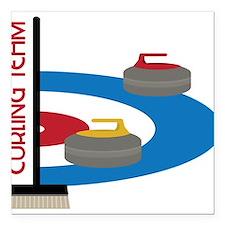 """Curling Team Square Car Magnet 3"""" x 3"""""""