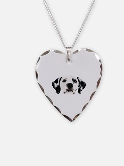 Dalmatian Face Necklace Heart Charm
