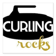 "Curling Rocks Square Car Magnet 3"" x 3"""