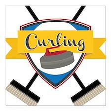 "Curling Logo Square Car Magnet 3"" x 3"""