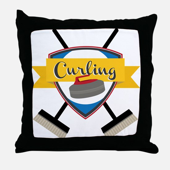 Curling Logo Throw Pillow