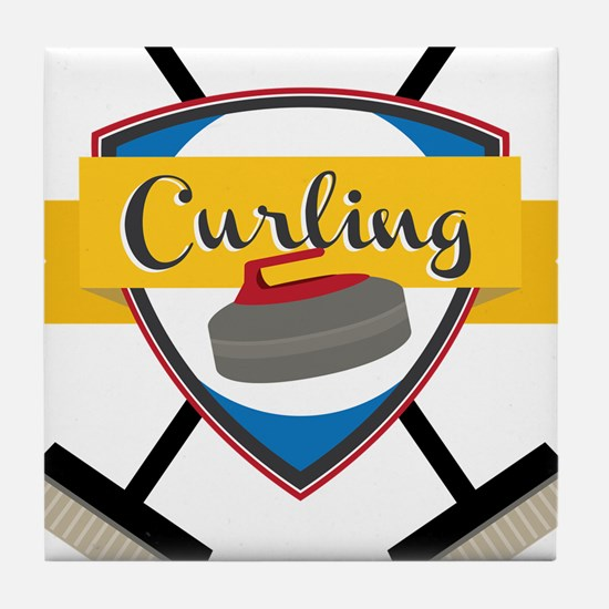 Curling Logo Tile Coaster