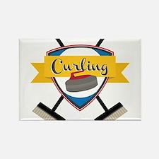 Curling Logo Rectangle Magnet