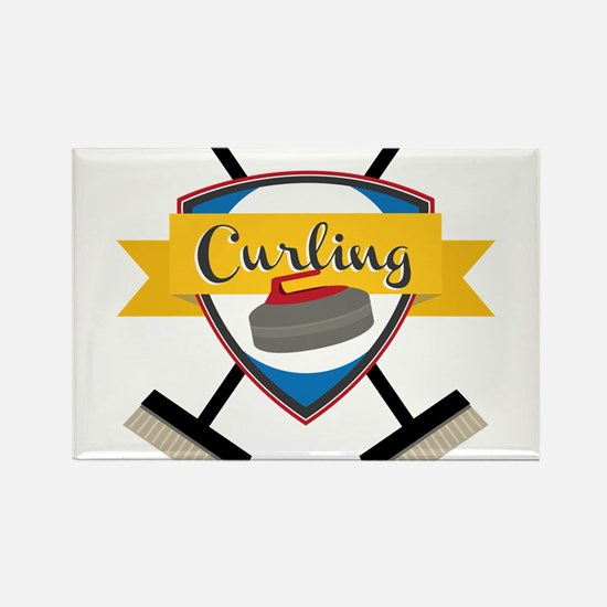 Curling Logo Rectangle Magnet