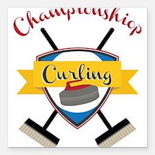 "Championship Curling Square Car Magnet 3"" x 3"""