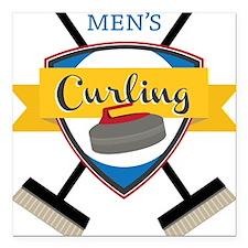 "Men's Curling Square Car Magnet 3"" x 3"""