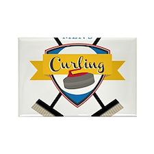 Men's Curling Rectangle Magnet