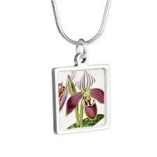 Lady Slipper Orchid Silver Square Necklace