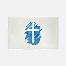 Pretty blue christian cross 5 U I Rectangle Magnet