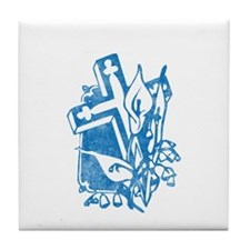 Pretty blue christian cross 5 U P Tile Coaster