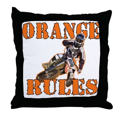 Orange Rules Throw Pillow by ourshirtsrockdotcom