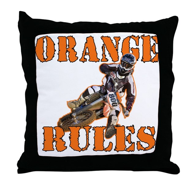 Orange Rules Throw Pillow by motocrossrocks