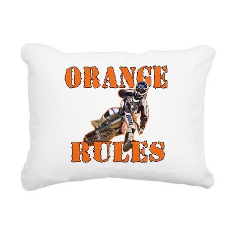 Orange Rules Rectangular Canvas Pillow