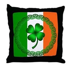 Flag and Clover Throw Pillow