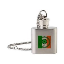 Flag and Clover Flask Necklace