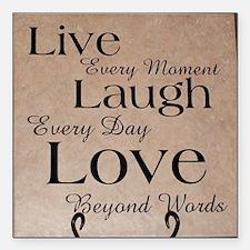 "Live, Laugh, Love Square Car Magnet 3"" x 3"""