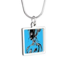 blue Silver Square Necklace