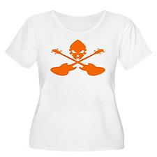 Skull and Bass Guitar Orange T-Shirt