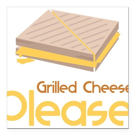 "Grilled Cheese Please Square Car Magnet 3"" x 3"""