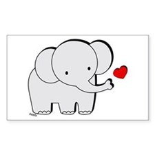 Elephant Love Rectangle Decal