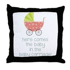Baby in the Baby Carriage Throw Pillow