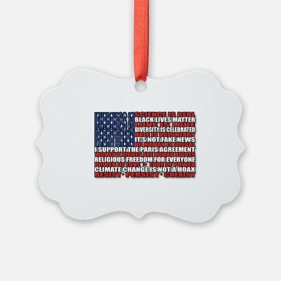 Political Protest American Flag Ornament