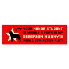 SIBERIAN HUSKY World Domination Bumper Sticker