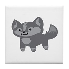 Happy Wolf Tile Coaster