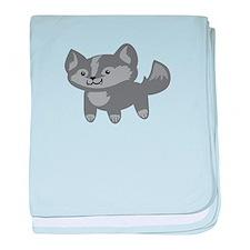 Happy Wolf baby blanket