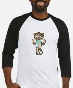 Cute Soccer Girl Baseball Jersey